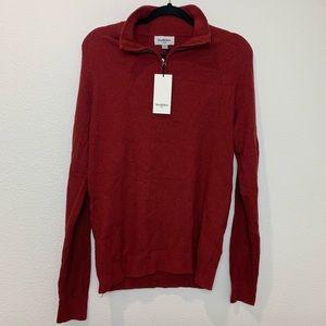 Men's knit burgundy 1/4 zip pullover